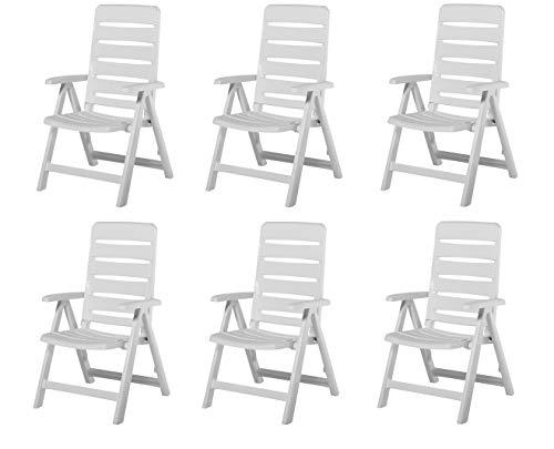 6 Kettler Nizza Gartenstuhl in weiß Klappsessel Gartenmöbel Sessel