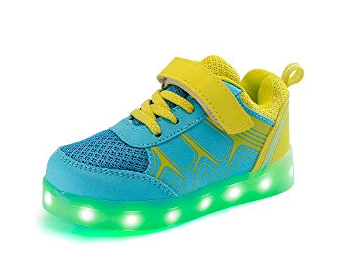 Feicuan Kinder LED Light Sport Schuhe USB Aufladen Flashing Turnschuhe Light Blue