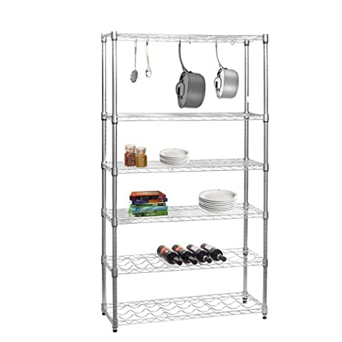 Chrome Kitchen Shelving Unit with 4 Shelves, 2 Wine Racks