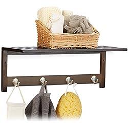 Relaxdays - Perchero de Pared con 4 Ganchos, bambú, marrón Oscuro, 16 x 50 x 17.5 cm
