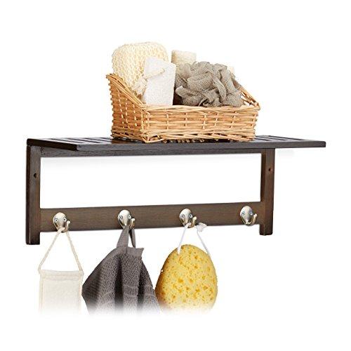 Relaxdays Wandregal mit 4 Haken, HxBxT: 17,5 x 50 x 16 cm, Bambus, Handtuchhalter, Garderobe, freischwebend, dunkelbraun (Dekorative Regale Mit Haken)