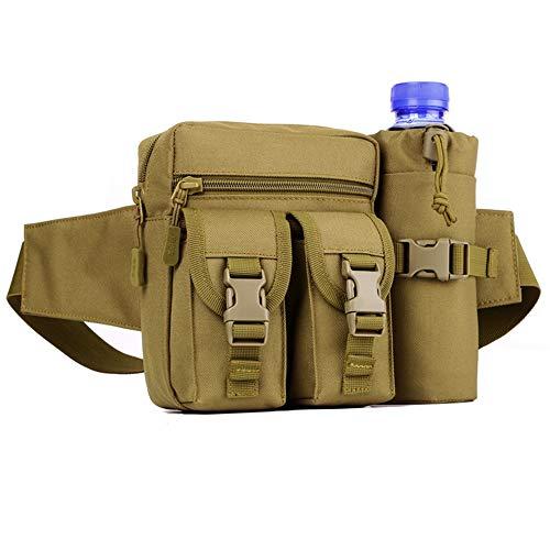 Huntvp Taktisch Hüfttasche mit Flaschenhalter Militärisch Bauchtasche Wasserdicht Gürteltasche MOLLE Wasserflasche Halter Multifunktional für Wandern Laufen Camping Trekking Radfahren -Braun
