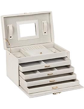 Weiß Schmuckkästchen mit 4 Schubladen und Spiegel Schmuckschatulle Schmuckkoffer 31x20x20cm JB0106