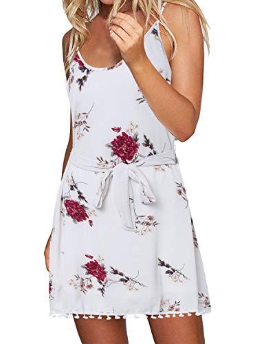 ACHIOOWA Sommerkleid Damen V Ausschnitt Ärmellos Sexy Tallierte Casual Mini Strandkleid Weiß-B91982 S