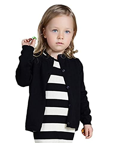 YOUJIA Unisex Long Sleeve Cardigan Kids Solid Color O-Neck Knit Sweater Tops Black 5Y(120cm)