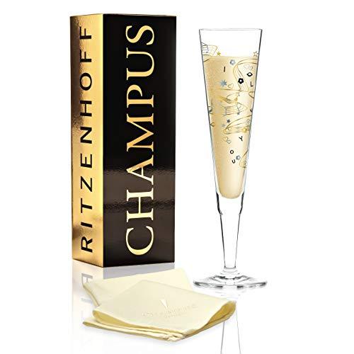 Willian Farias Champus Verre à champagne en cristal 200 ml avec pièces élégantes dorées et platillons et serviettes en tissu inclus