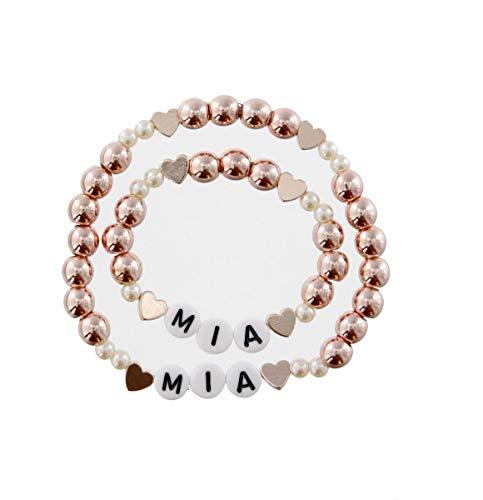 Tauf Geburts Namen Baby- Kinder und Mama Armband-Set rose-gold u. Ihrem Namen personalisiert (Armbänder Für Ereignisse)