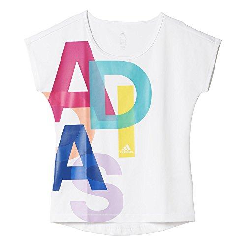 adidas Mädchen T-shirt YG W F LOGO TEE, Weiβ/Rosa/Blau, 128, 4055343889160