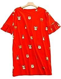 8077bb0ab0 Mmllse Nachthemd Weibliche Baumwolle Cartoon Hund Kurzarm Pyjama Lose Süße  Kleid Kann Getragen Werden