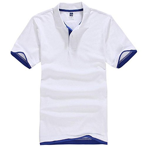 Vertvie Herren Poloshirt Basic kurzarm Funktionspolo Hemd in verschiedene Farben Weiß&Knallblau