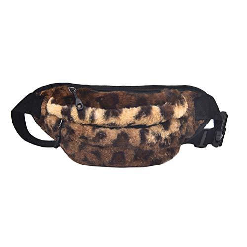 Riñonera de Piel sintética para Mujer, con Borla de Viento, Simple y versátil, para Llevar el teléfono (Negro) Leopardo Medium