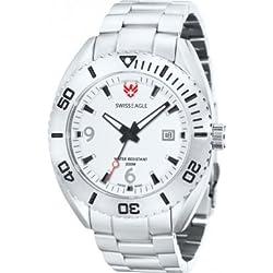 Swiss Eagle se-9015-22-torpédo-Grey Men's watch-Analogue quartz-White Dial-Steel Bracelet