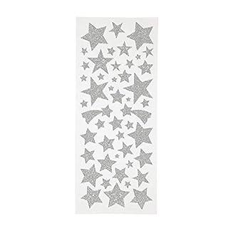 110 pegatinas con purpurina en forma de estrellas plateadas de hojas de 10 x 24 cm – Pegatinas decorativas para calendario de Adviento, DIY Navidad