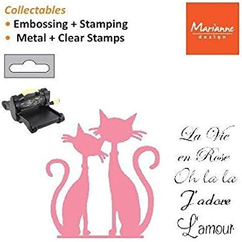 Marianne Design - Fustella decorativa, a forma di gatti, con scritta in francese, rosa