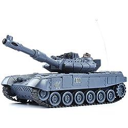GizmoVine RC Maqueta de Tanque Escala 1:28 Tanque de Batalla y Lucha Radio Control Rusia T90 Tanque de Batalla con Mando a Distancia Juguetes para Niños Chicos 40Mhz Color Azul Marino