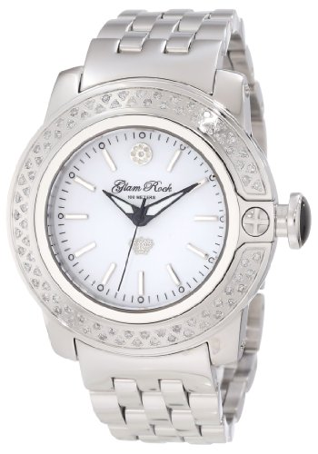 Glam Rock Women's GR31001D SoBe Diamond Accented White Dial Stainless Steel Watch