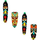 Home Decorative Terracotta Wall Hanging Multicolour Tango Mask Pair & Egyptian Mask Combo-28 Cms. - 4 Pcs-Handcrafted Decorative Mask For Wall Decor, Room Decor And Gifts
