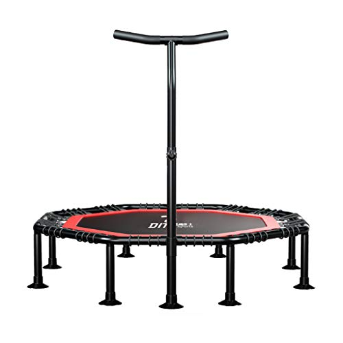 Faltbares Fitness Trampolin für Indoor Outdoor | Jumping Trampoline Rebounder Erwachsene Kinder Bungee Anfänger mit Griff Haltestange | seile leise Gummiseilfederung Sprungfläche