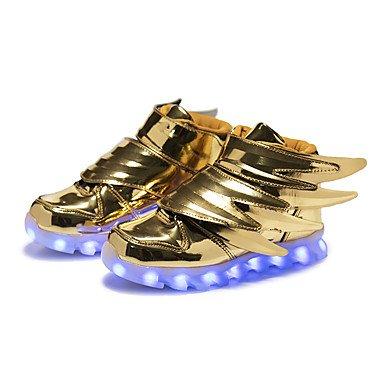 LED Aemember's Boys' Sneakers accende sintetico scarpe Autunno Inverno outdoor casual parte & luce della sera fino scarpe ala LED gancio & ansa tacco piatto oro nero US4 / EU36 / UK3 Big Kids