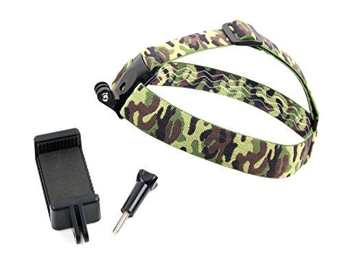Kopfhalterung im Camouflage mit Halterungsadapter für Sharp Z3, Nextbit Robin und Mobiho-Essentiel LE SMART D50 + D55 + M45 Smartphone. Praktisch: Kopfhalterung ist auch mit Actionkameras nutzbar (D50 Camcorder)