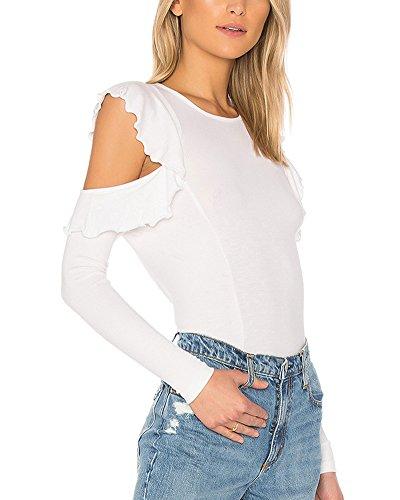 ZhuiKun Donna Camicetta Maglietta T-Shirt Maglia Blusa Manica Lunga Slim Fit Girocollo Tops Bianco