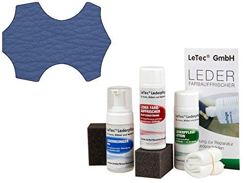Preisvergleich Produktbild LeTec® Nachtönungs- und Pflegeset passend für Volvo Leder skagen blue mit Leder Farbauffrischer (Lederfarbe) 150 ml, Lederpflegelotion (UV-Schutz) 150 ml und Lederreiniger 125 ml, beseitigt Kratzer, Abschürfungen und Farbverlust