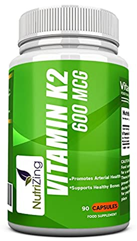 ★ NutriZing's 600 MCG Vitamin K2 ~ High Strength MK-7 ~ Fermented Natto Based Healthy VitaminK ~ 90 Premium vegicaps ~ Suitable for Vegetarians ~ For Stronger Teeth and Bones ~ Works Best For Improved Heart and Blood Health ~ High Quality Vitamin K ~ Advanced Formulation ~ Supports Bone Mineralisation and Calcium Uptake ~ Essential Vitamin Supplement for Life Extension of Men and Women ~ Safe & Effective Vitamin Pills ~ GMO free & gluten free ~ MK7 menaquinone ~ Made in UK ~ Money Back Guarantee
