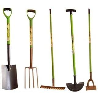 Hamble Green Blade BB-GR101 12-Teeth Carbon Steel Garden Rake with PVC Grip - Leaf green/brown