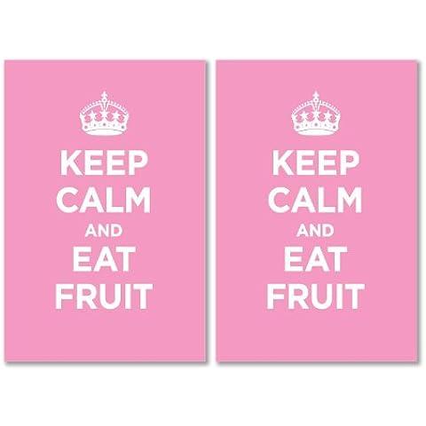 Confezione di Adesivi in Vinile lucido: Keep Calm mangiare frutta pastello rosa WW2WWII parodia cartello (2adesivi, 10x 15/5,9x 3.9in)