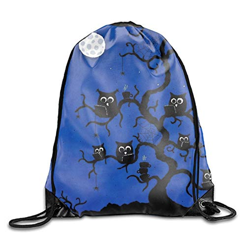uykjuykj Tunnelzug Rucksäcke, Drawstring Backpack Halloween Owl Goodie Bags,Promotional Gym Sack for Birthday Party Halloween owl 1 Lightweight Unique 17x14 IN