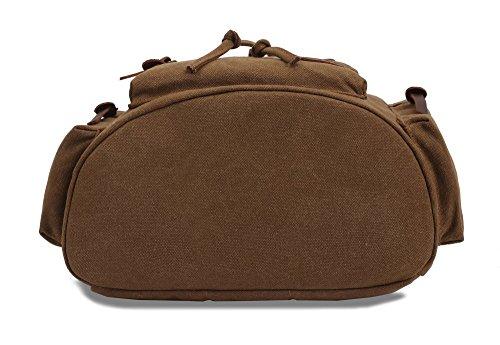 LOBTY Vintage Rucksäcke Herren Damen Vintage Canvas Rucksack Retro Schulrucksack mit Der Großen Kapazität Rucksack für Outdoor Sports Khaki