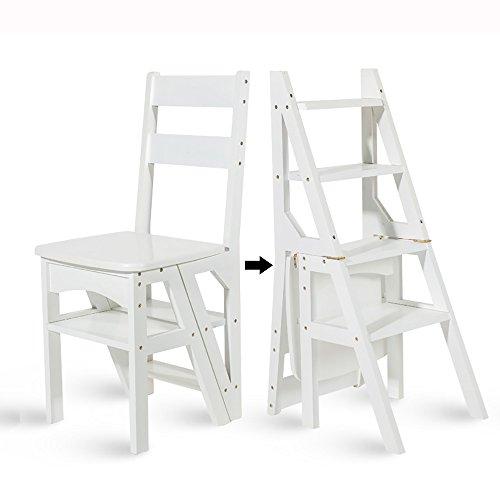 LJHA Tabouret pliable Tabouret escabeau multifonctionnel en bambou / chaise pliante en bois solide d'enfants / échelle de ménage créatrice déformable / tabouret rotatif 40 * 89 cm 2 couleurs disponibles chaise patchwork ( Couleur : Blanc )