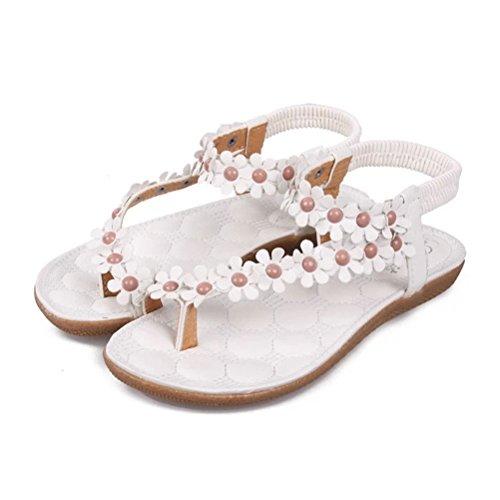 Jolies sandales, chaussures plates, tongs avec perles de bohème et fleurs pour filles et femmes pour la plage Donalworld Blanc
