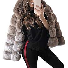 0cb0854da1e72 Autunno Inverno Donne Cappotto in Pelliccia Sintetica Casual Manica Lunga  Cime Termica Corto Giacca con Cappuccio
