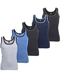 MT 5 Stück Feinripp Tanktop Melangefarben - Herren Unterhemd Achselhemd im 5-Farb-Pack