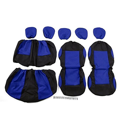 9pcs Detachable Washable Knitted Auto Seat Covers Universal Protective Covers Blue (Blue Auto Seat Covers)