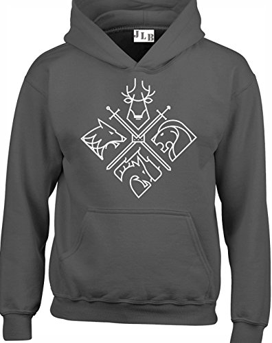 JLB Print Four Sigils on Crossed Swords Direwolf Dragon Lion and Stag Fantasy TV Show Inspiriert Hochwertige Unisex Hoodies fur Manner Frauen und Jugendliche - Holzkohle/Groß -