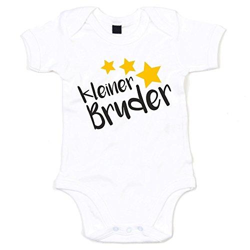Baby Body - Kleiner Bruder - Sterne - von SHIRT DEPARTMENT, weiss-schwarz, 50-62