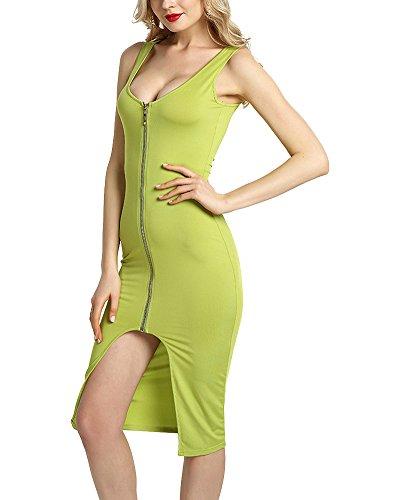 Donna Vestito Midi Senza Maniche Eleganti Sera Partito Festa Verde