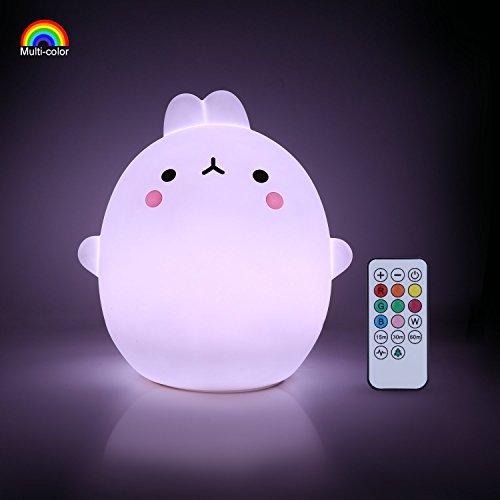 YISSVIC Luz Nocturna Bebé Lámpara Infantil Silicona Multicolor Remoto Recargable Regalo para los Niños Bebés [Luz de 9 Colores] [Clase de eficiencia energética A+]