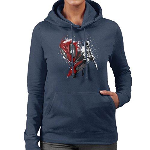 Deadpool Breaking The 4th Wall Women's Hooded Sweatshirt Navy blue
