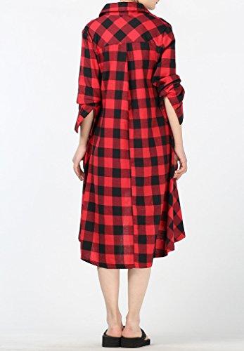 MatchLife Femmes Casual Manches Longues Hi-Low Hem Coton Plaid Utility Chemise Robe Rouge