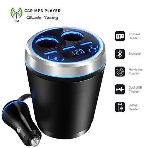 QILade Yzcing 3 USB Port Tasse Autoladegerät Zigarettenanzünder Splitter / MP3 Musik Player Bluetooth Kit FM Transmitter/Spannungsanzeige Ladegerät Tasse Mp3 Splitter Converter