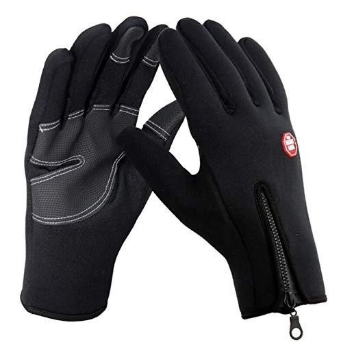Winddichte Handschuhe rutschfest Winddicht warm warm Touchscreen-Handschuhe atmungsaktiv Winter Herren und Damen Schwarze Reißverschlusshandschuhe - G016 Style 2 Schwarz, M