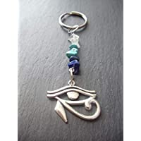 Eye of Horus Gemstone Keyring or Handbag Charm Protection Power Gift