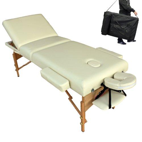 TecTake Massageliege Premium in beige mit 10cm reiner Polsterung + Tasche & Alukopfstütze