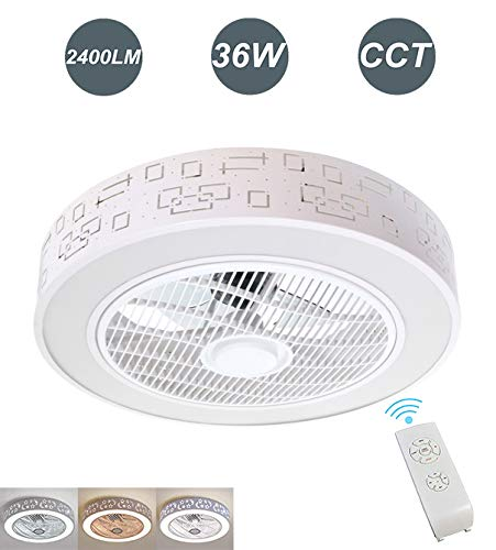 Ventilador de Techo con Lámpara LED 36W Ventilador Invisible con Mando a...