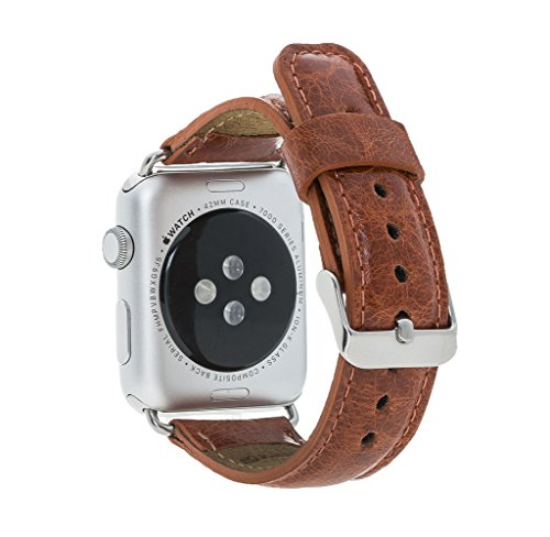 Preisvergleich Produktbild Barchello Apple Watch Premium Lederarmband für Series 1 / 2 / 3 mit GRÖßENAUSWAHL 38mm oder 42mm / FARBAUSWAHL für LEDER und CONNECTOR (42mm,  Braun / Silberfarbener Connector & Schließe)