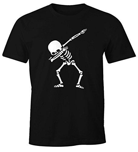 MoonWorks Herren T-Shirt Dab Skeletton Hip Hop Dance Tanz Skelett Dabbing Fun-Shirt schwarz 4XL (Schwarz Skelett Shirt)