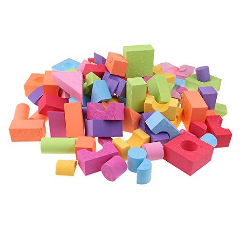 *Fenteer 100pcs/Set Bausteine Bauklötze Schaumstoff Schaumstoffbausteine weiche für Kinder Baby*